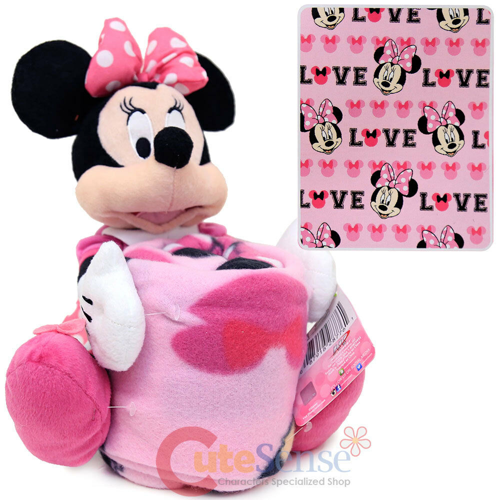 Minnie Throw And Pillow Set : Disney Minnie Mouse Fleece Throw Blanket with Plush Doll Pillow Buddy 2pc Set eBay