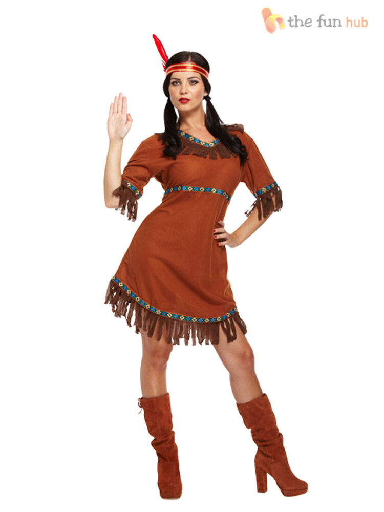 Red Indian Woman Squaw Costume Pocahontas Ladies Womens -5979