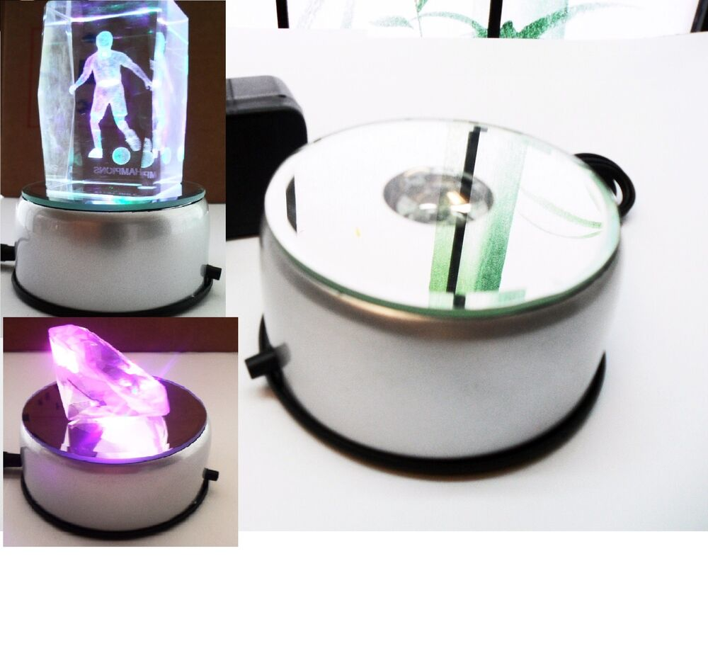 3d Crystal Glass Trophy Laser Led Rotating Electric Light