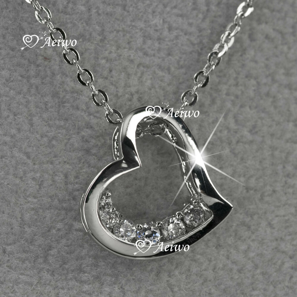 18k white gold gf clear crystal love heart pendant. Black Bedroom Furniture Sets. Home Design Ideas