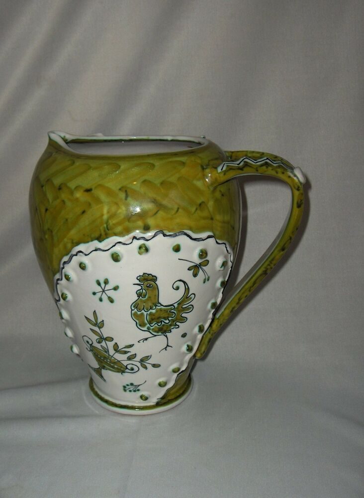 Vintage ceramic green white pitcher rooster bird italy for Green italy