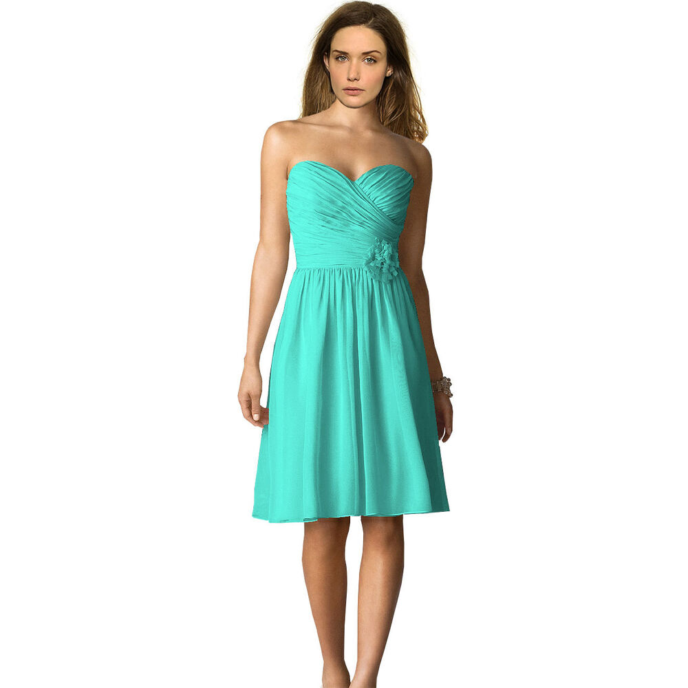 Strapless Short Chiffon Bridesmaid Formal Cocktail Evening Party Dress Aqua Blue Ebay