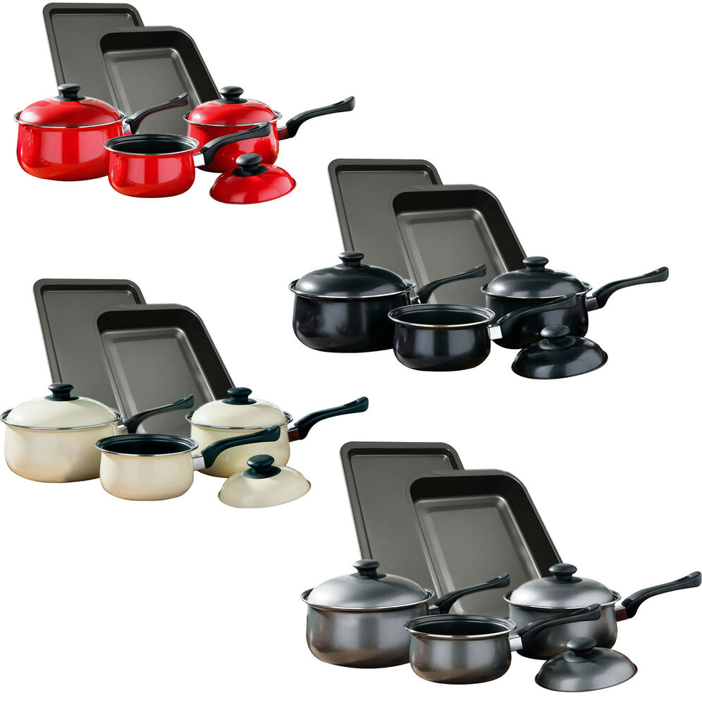 8 Piece Non Stick Carbon Steel Saucepan Roasting Amp Oven