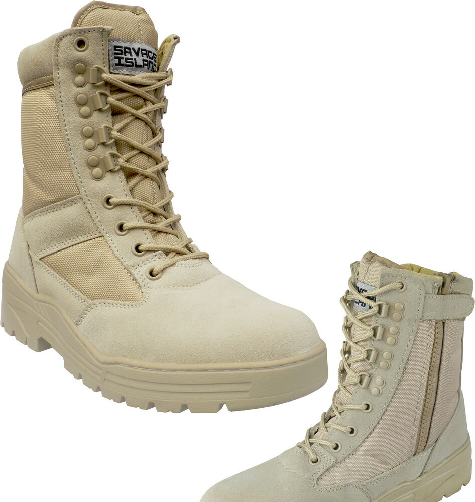Desert Army Side Zip Combat Patrol Boots Tactical Cadet Military ...