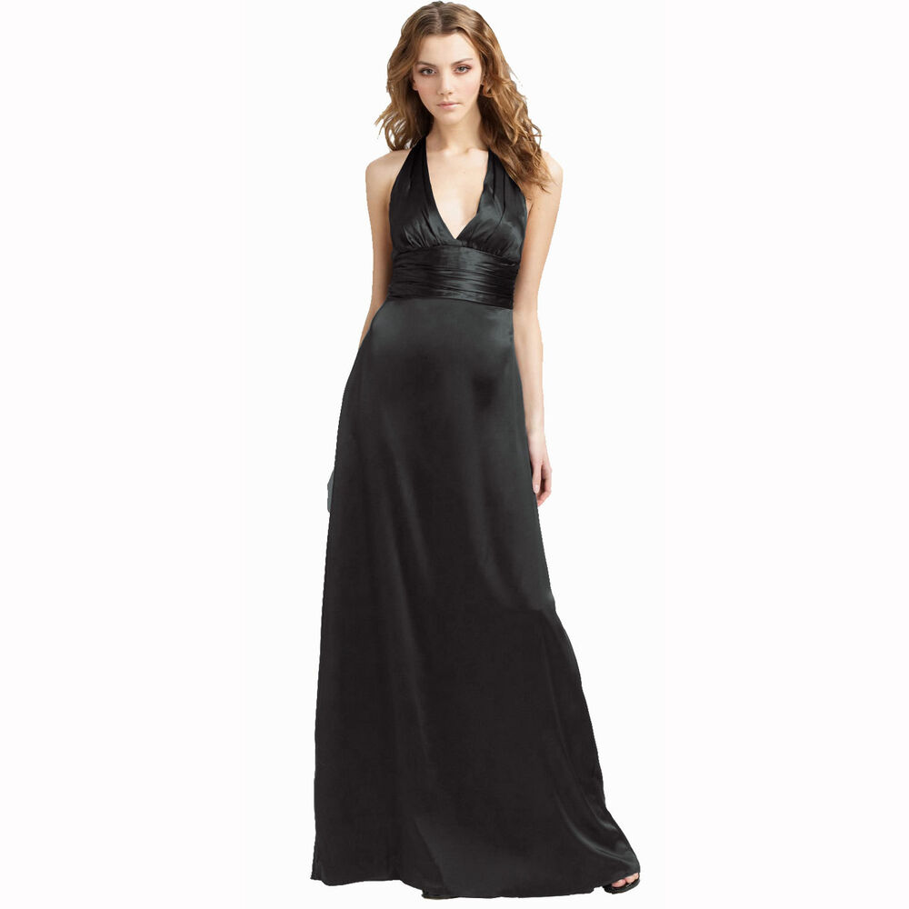 Halter Neck Silk Satin Formal Evening Bridesmaid Dress