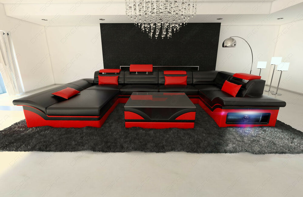 wohnlandschaft leder enzo u form sofa mit led beleuchtung rgb ebay. Black Bedroom Furniture Sets. Home Design Ideas
