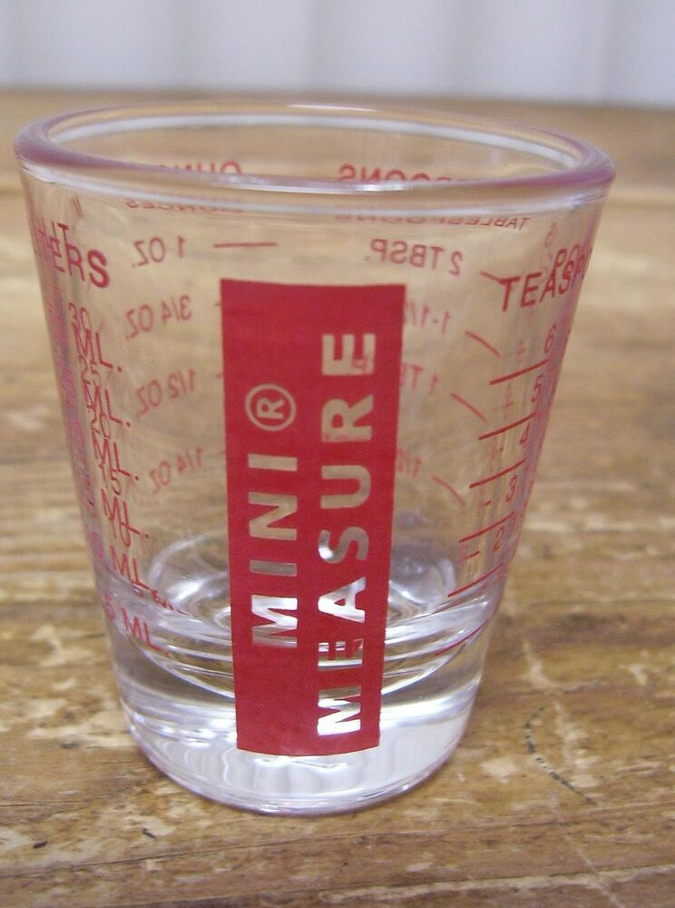 mini measure red on clear shot glass bar barware tablespoon teaspoon ounces ebay. Black Bedroom Furniture Sets. Home Design Ideas