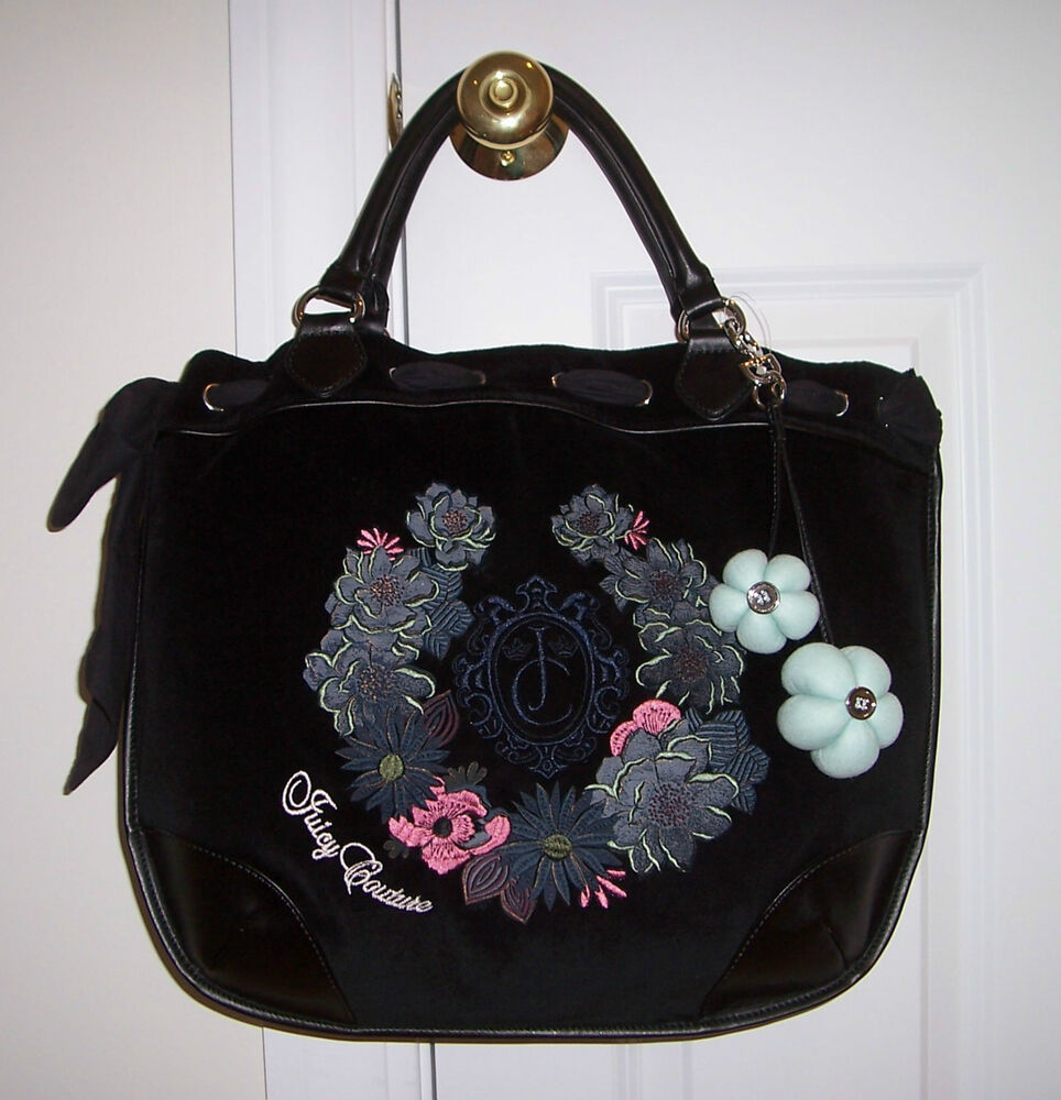 nwt juicy couture beverly large velour tote bag black floral embroidery yhrus291 ebay. Black Bedroom Furniture Sets. Home Design Ideas