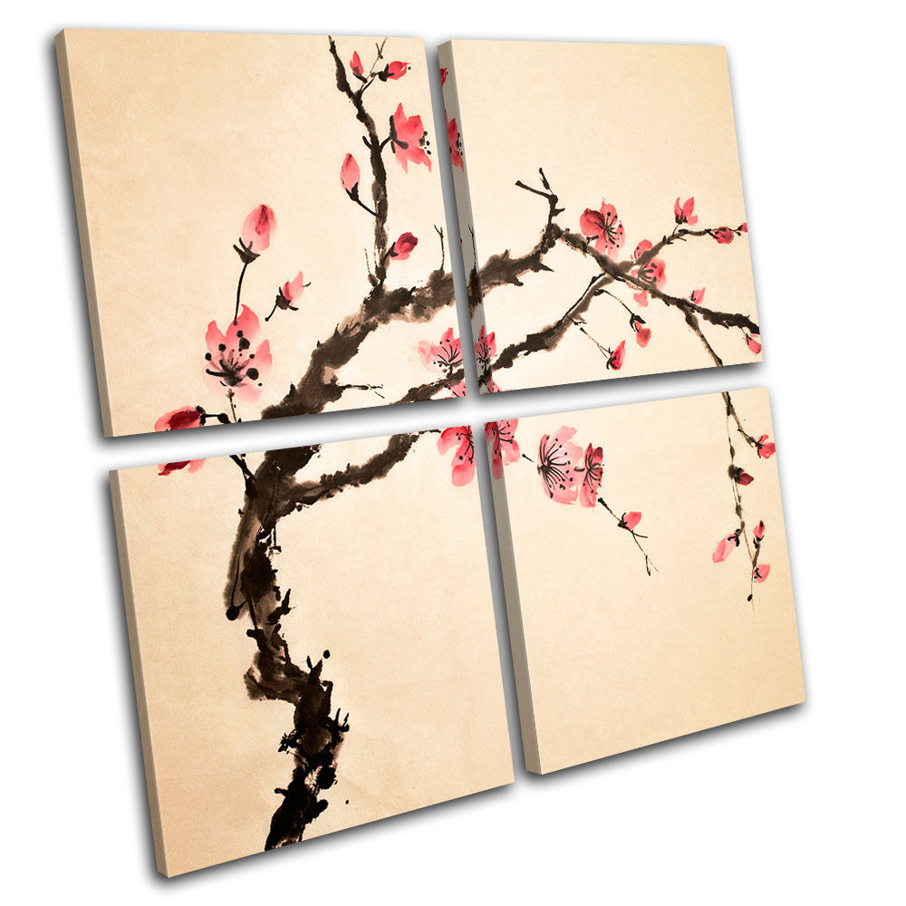 Cherry blossom floral multi canvas wall art picture print for Cherry blossom canvas painting