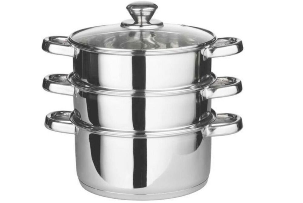 Cooking Pot Steamer ~ Pc stainless steel food steamer set glass lid steam sauce