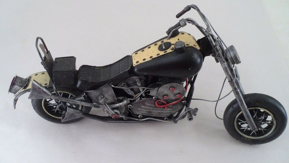 Detailed 16 quot metal harley old school motorcycle art sculpture yellow