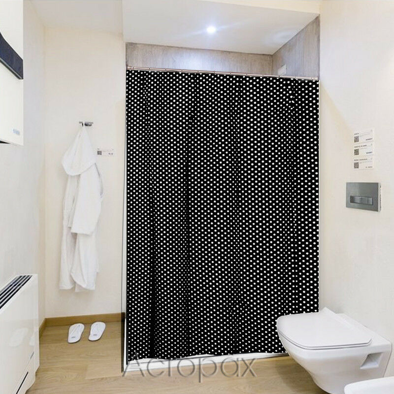 Black Amp White Polka Dot Nylon Fabric Shower Curtain With