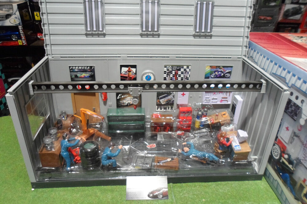 diorama garage service pour voiture au 1 18 dickie spielzeug 3605328 accessoire ebay. Black Bedroom Furniture Sets. Home Design Ideas
