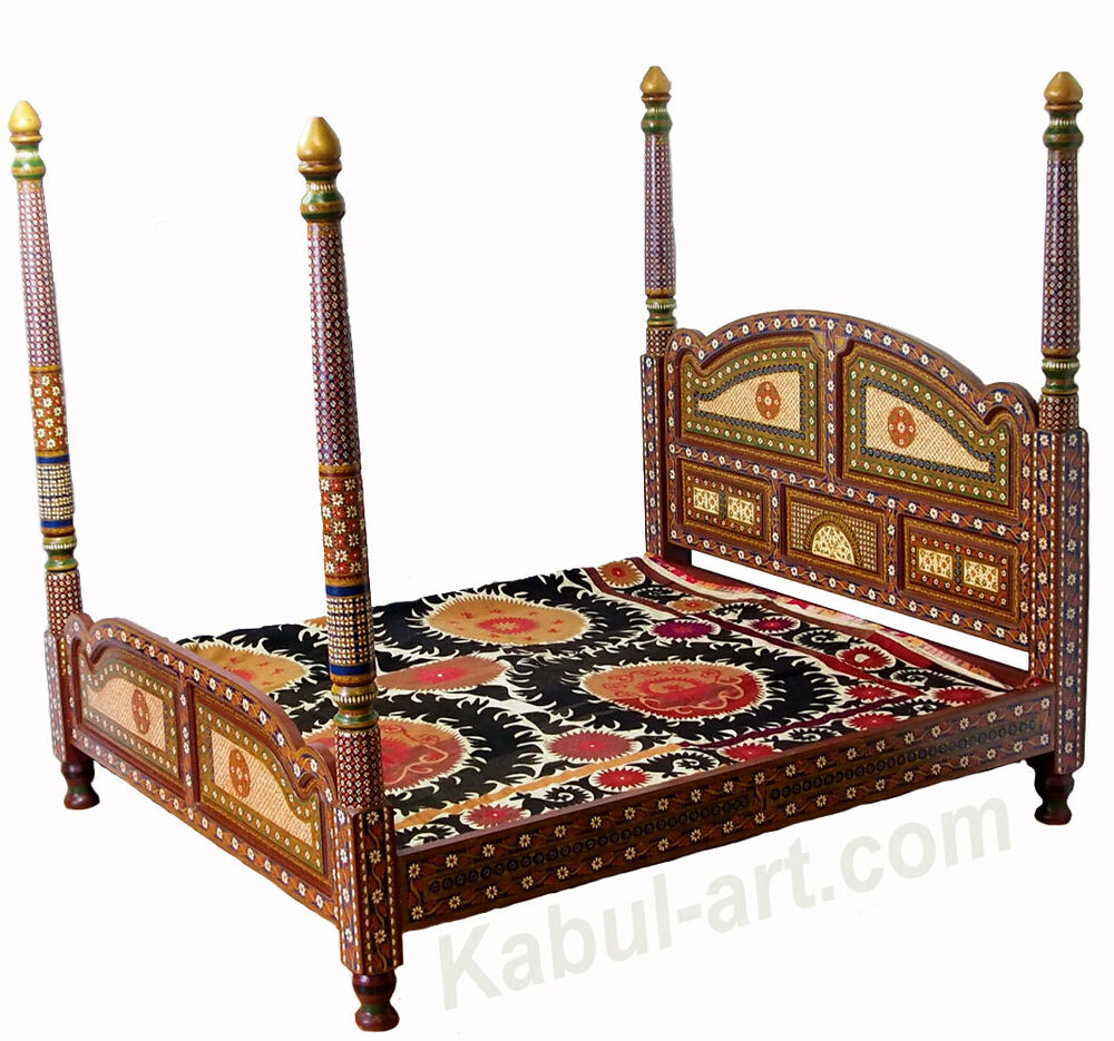 orient massiv schlafzimmer bett himmelbett doppelbett afghan king size bed mgl ebay. Black Bedroom Furniture Sets. Home Design Ideas