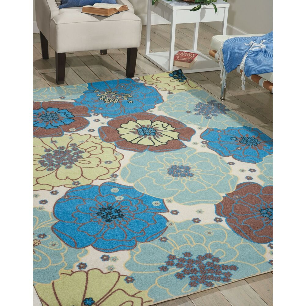 Nourison Home And Garden Blue Floral Indoor Outdoor Rug 5