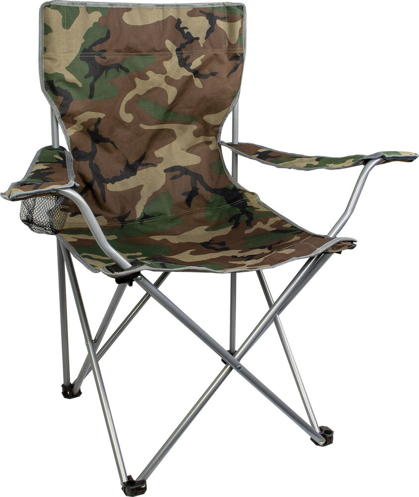 Highlander Camping Fishing Folding CHAIR with ARMS Camo Camouflage Adult