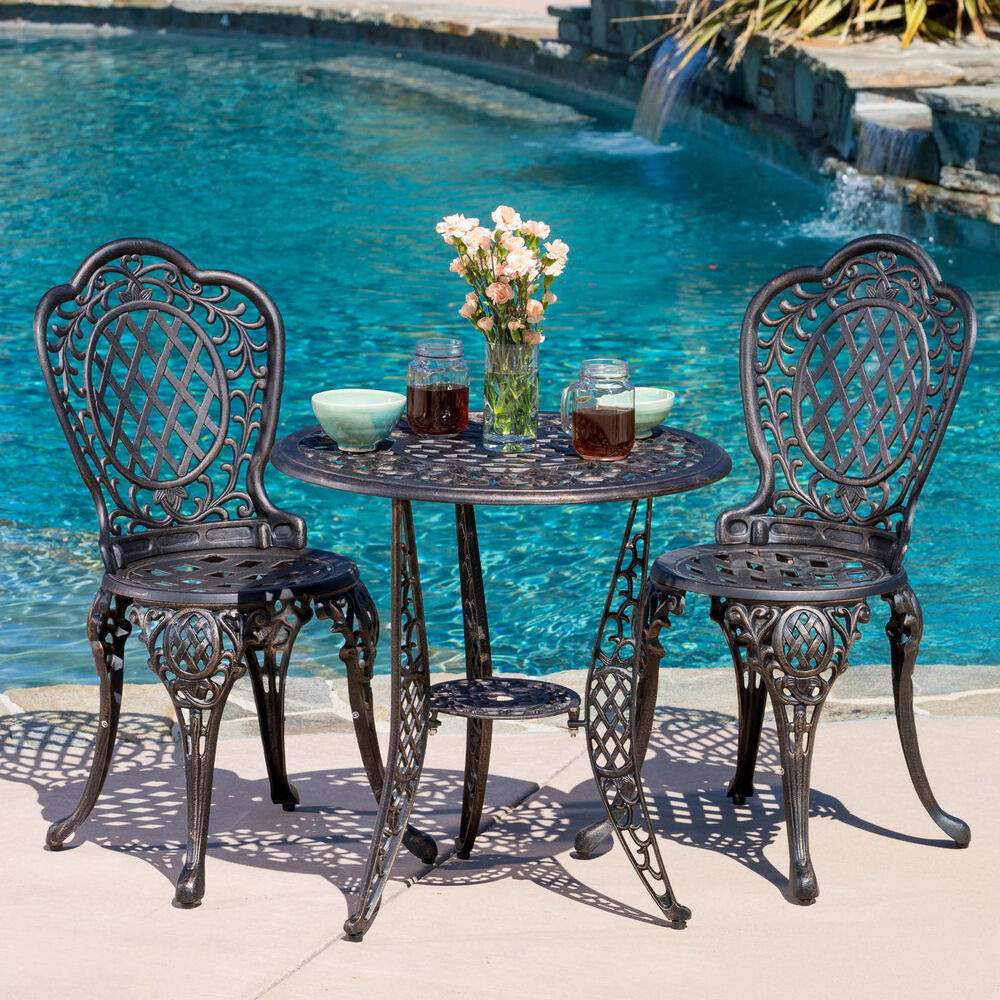cole 3 piece bronze cast aluminum outdoor bistro set by christopher knight home ebay. Black Bedroom Furniture Sets. Home Design Ideas