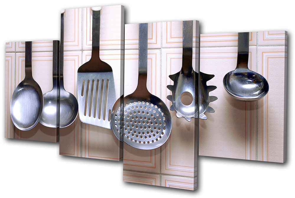 Food kitchen utensils multi canvas wall art picture print for Wall painting utensils