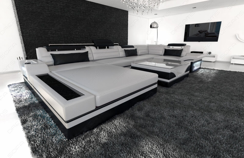 designsofa luxus wohnlandschaft mezzo led licht luxussofa ledercouch ebay. Black Bedroom Furniture Sets. Home Design Ideas