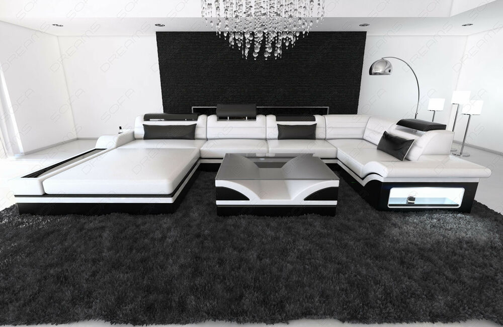 luxussofa leder wohnlandschaft mezzo u form recamiere led echtleder design sofa ebay. Black Bedroom Furniture Sets. Home Design Ideas