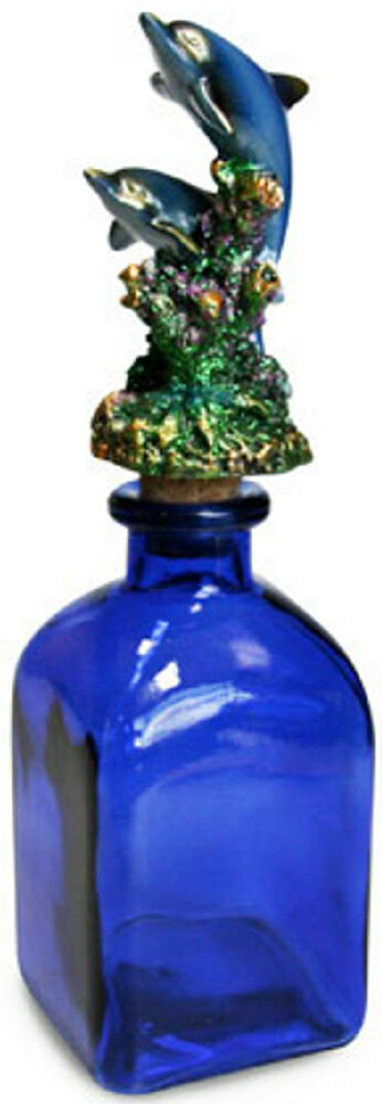 Beautiful decorative 2 dolphin cork bottle cobalt blue for Colored glass bottles with corks
