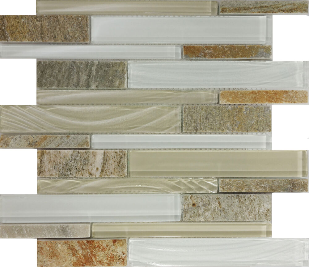 Sample Brown Glass Natural Stone Linear Mosaic Tile Wall: SAMPLE- Beige Cream Glass Natural Stone Linear Mosaic Tile