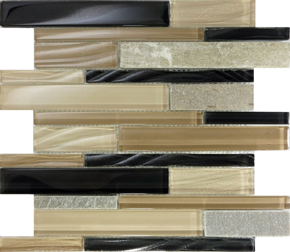 Sample Marble Green Brown Glass Linear Mosaic Tile: SAMPLE- Brown Glass Natural Stone Linear Mosaic Tile Wall