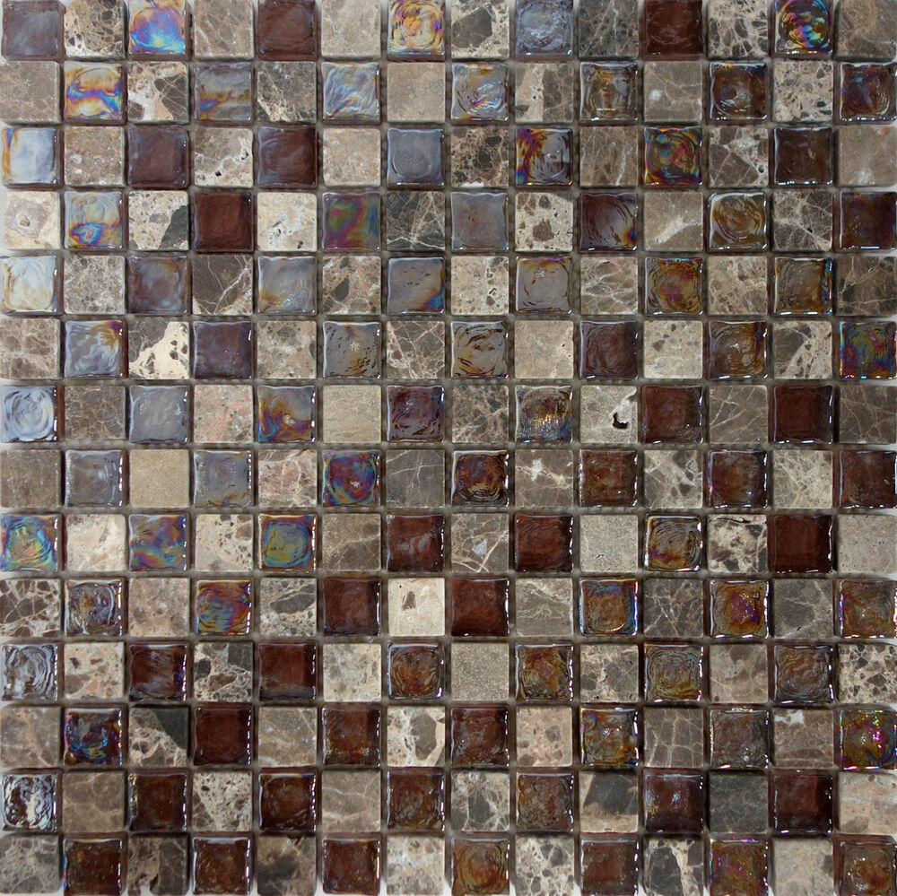 sample brown glass natural stone mosaic tile wall floor