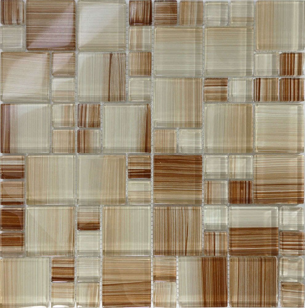 Sample Brown Hand Painted Glass Pattern Mosaic Wall Tile