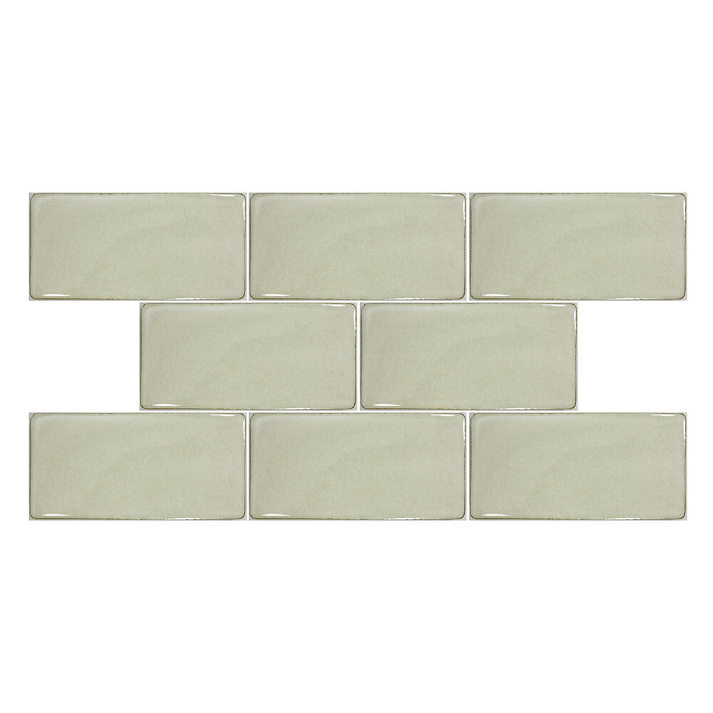 Sample Cream Crackle Glass Mosaic Tile Kitchen Backsplash: SAMPLE- Cream Beige Crackle Glazed Hand Made Porcelain