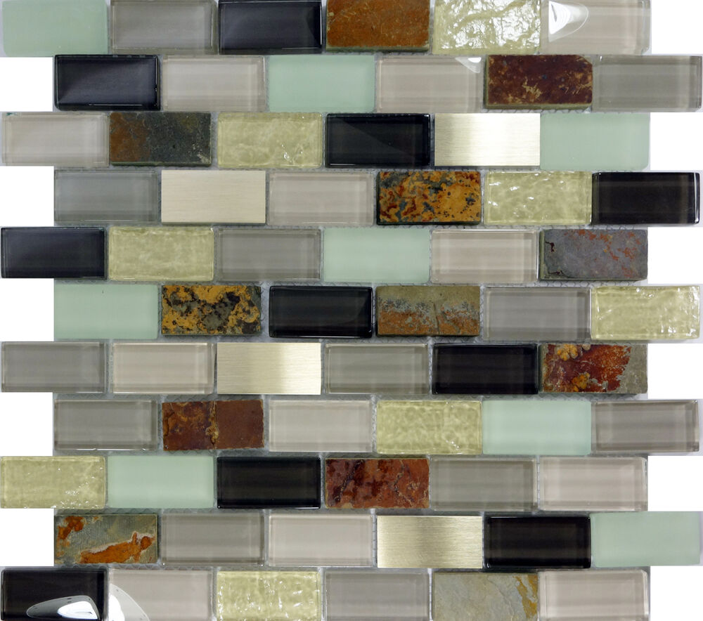 Natural Stone Glass Mosaic Tile Sample Backsplash 8mm: SAMPLE- Brown Glass Stainless Steel Natural Stone Blend