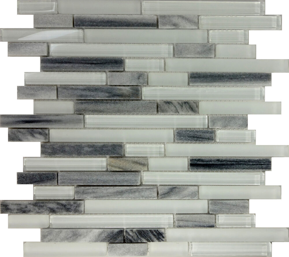 Sample Marble Green Brown Glass Linear Mosaic Tile: SAMPLE- Gray White Glass Natural Stone Linear Mosaic Tile