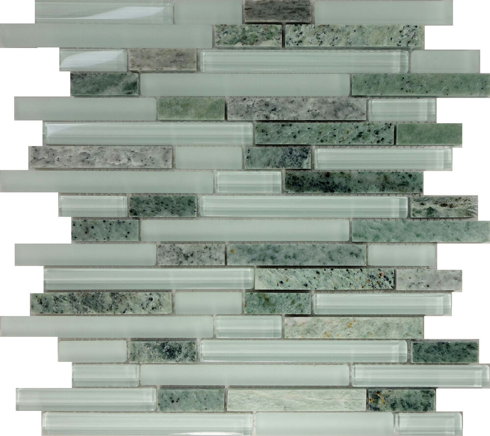 Sample Marble Green Brown Glass Linear Mosaic Tile: SAMPLE- Green Glass Natural Stone Linear Mosaic Tile