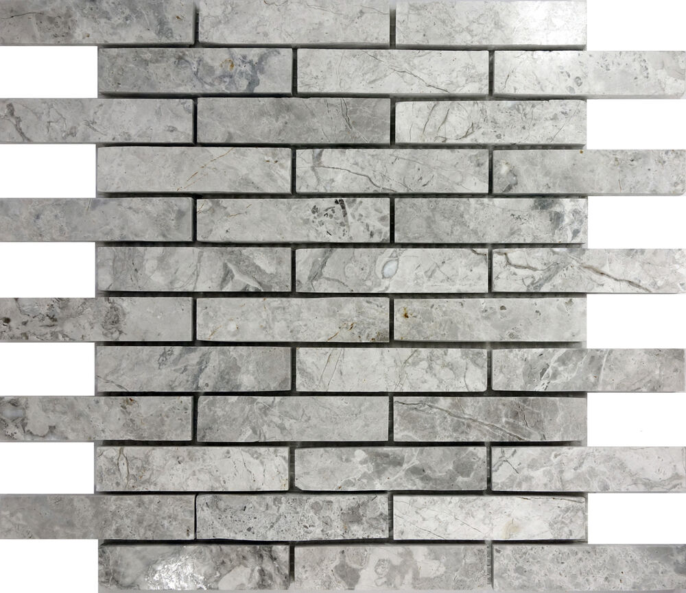 "Rectangle Kitchen Floor Tiles: SAMPLE- Tundra Gray Marble 1""x4"" Rectangle Brick Mosaic"