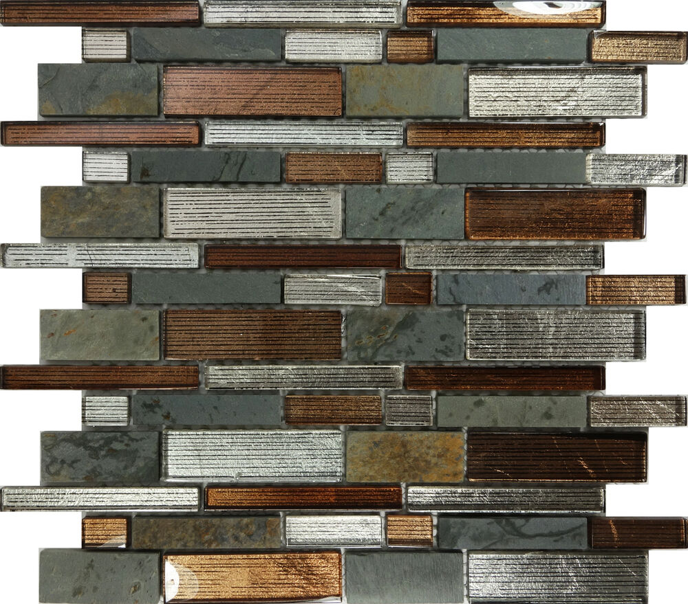 Sample Brown Glass Natural Stone Linear Mosaic Tile Wall: SAMPLE- Metallic Brown Glass Natural Stone Mosaic Tile