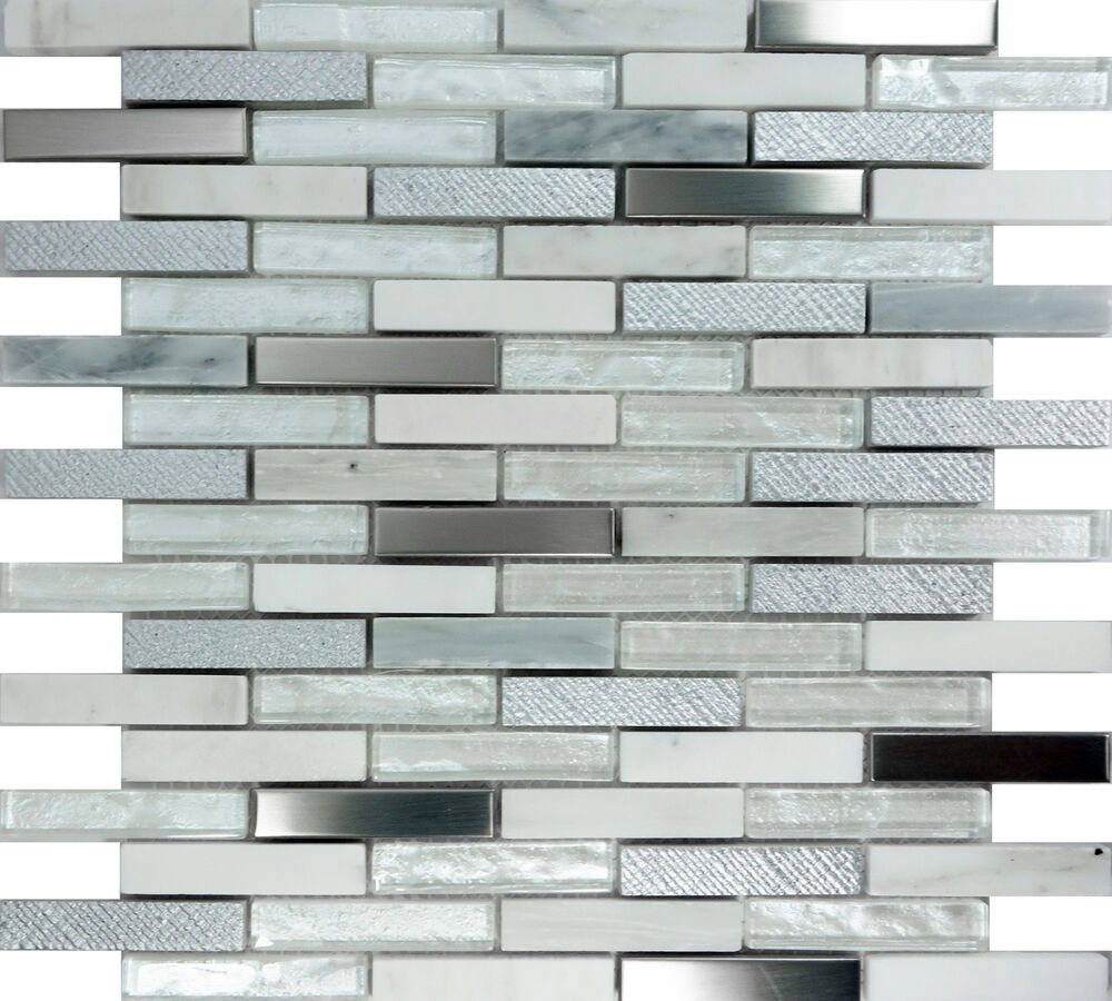 sample white glass stainless steel natural stone mosaic