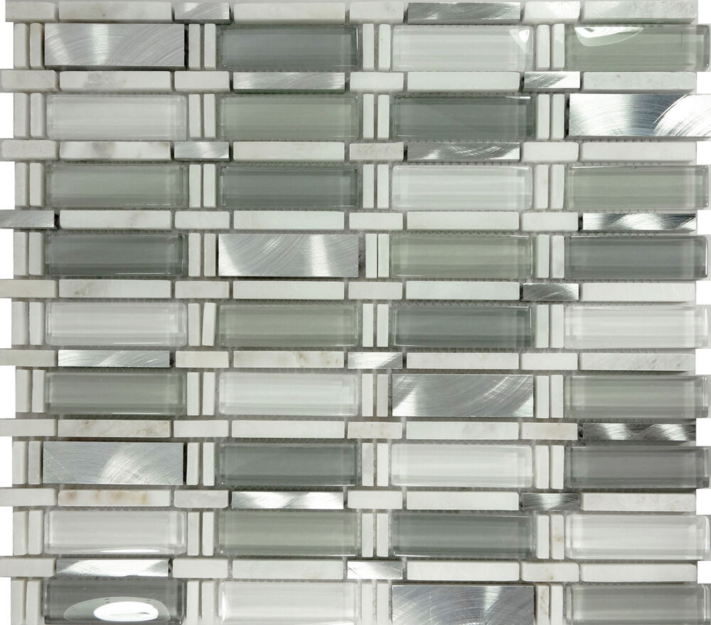 Stainless Steel Pattern Gray Glass Mosaic Tile: SAMPLE- White Gray Glass Stainless Steel Natural Stone