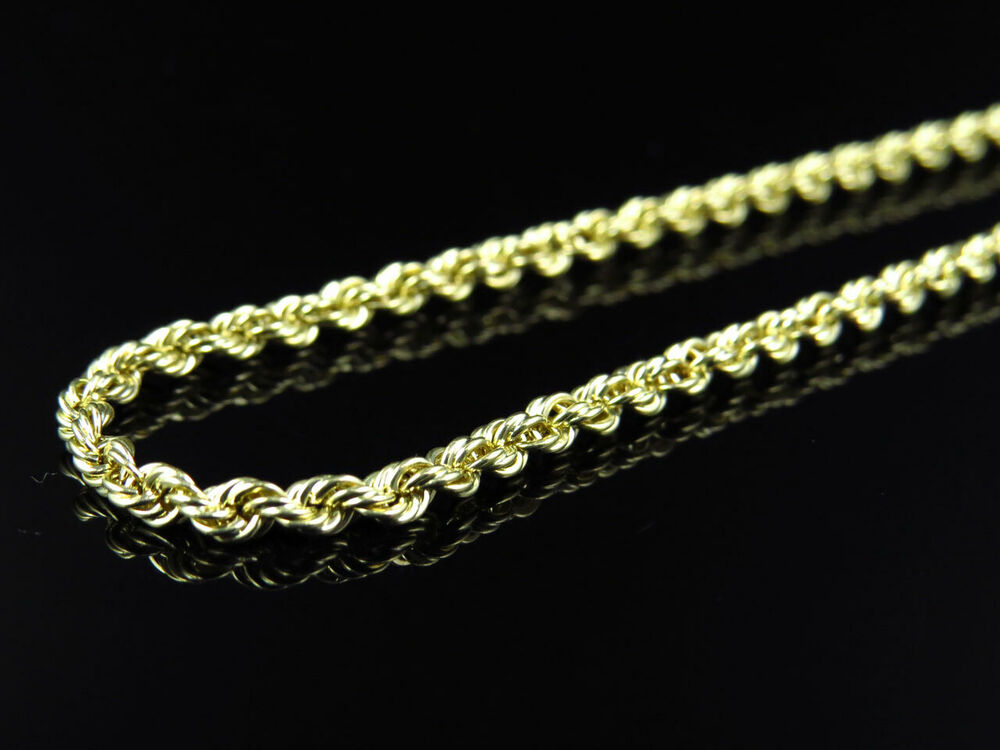 Mens ladies 1 20th 10k yellow gold 2 5 mm hollow rope for 10k gold jewelry