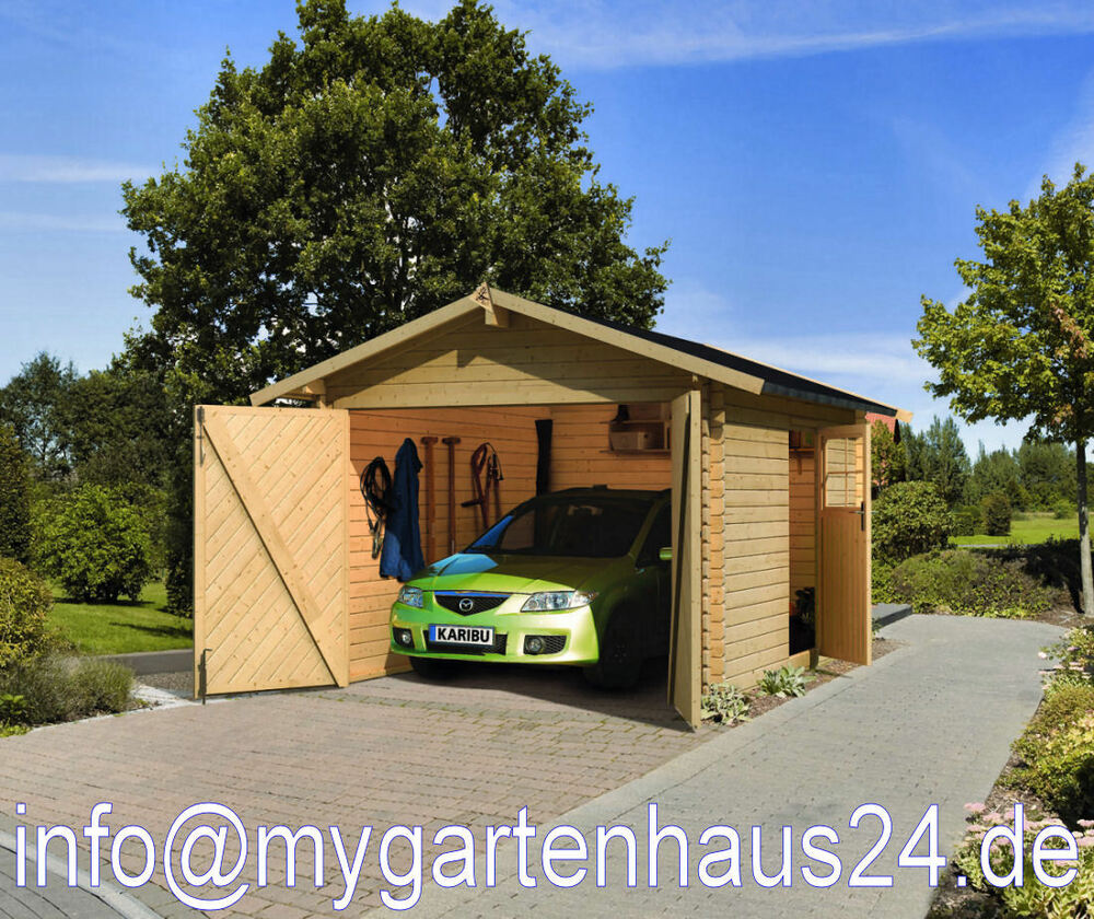 garage garten auto blockbohlengarage karibu bausatz fertiggarage holzhaus neu ebay. Black Bedroom Furniture Sets. Home Design Ideas