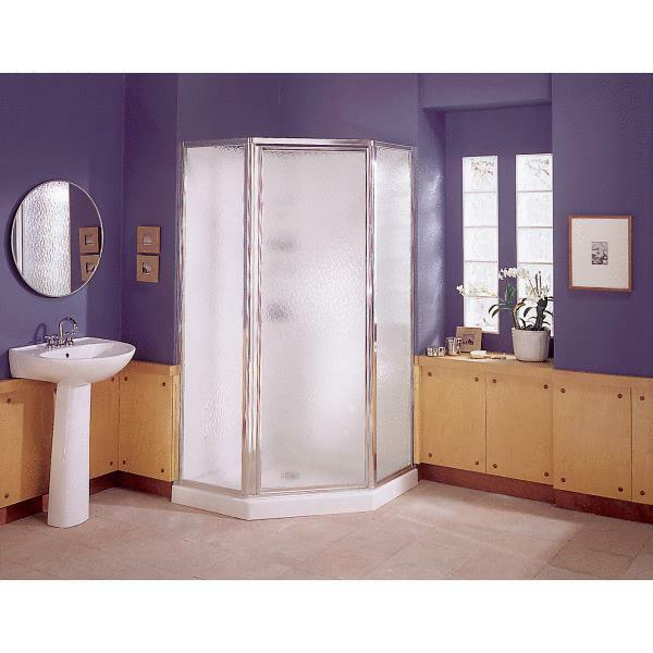 Sterling 38 Inch White Neo Angled Corner Shower Enclosure Kit EBay