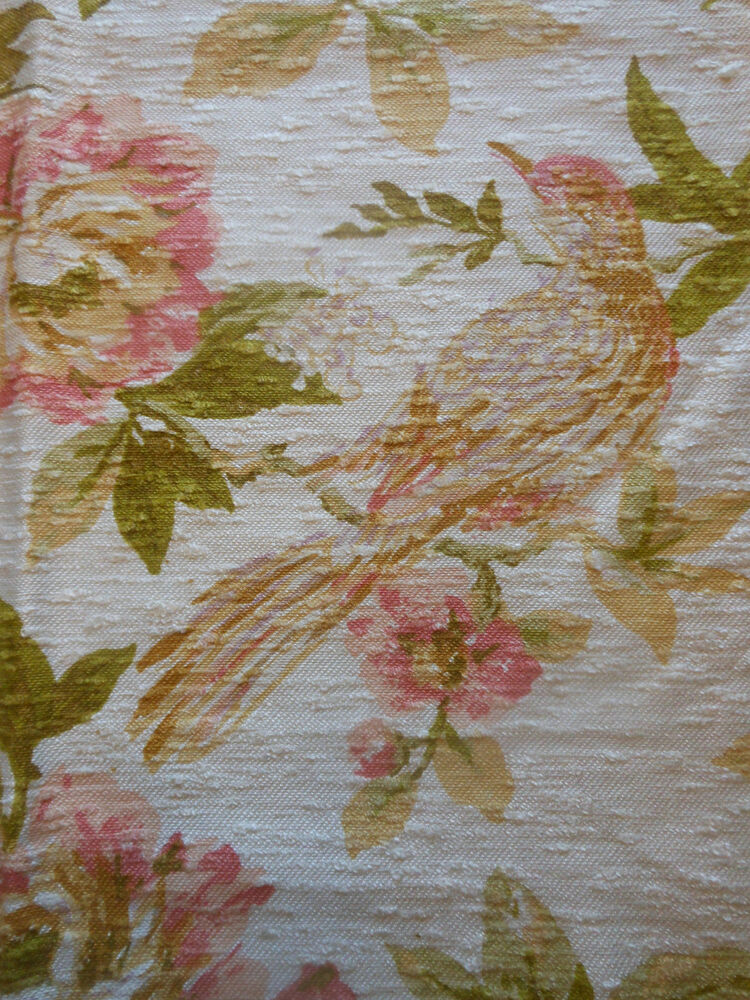Vintage Sweet Birds Floral Fabric Peach Gold Green