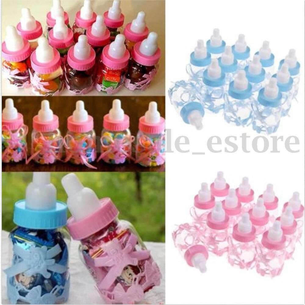 12 fillable bottles for baby shower favors blue pink party for Baby bottle decoration