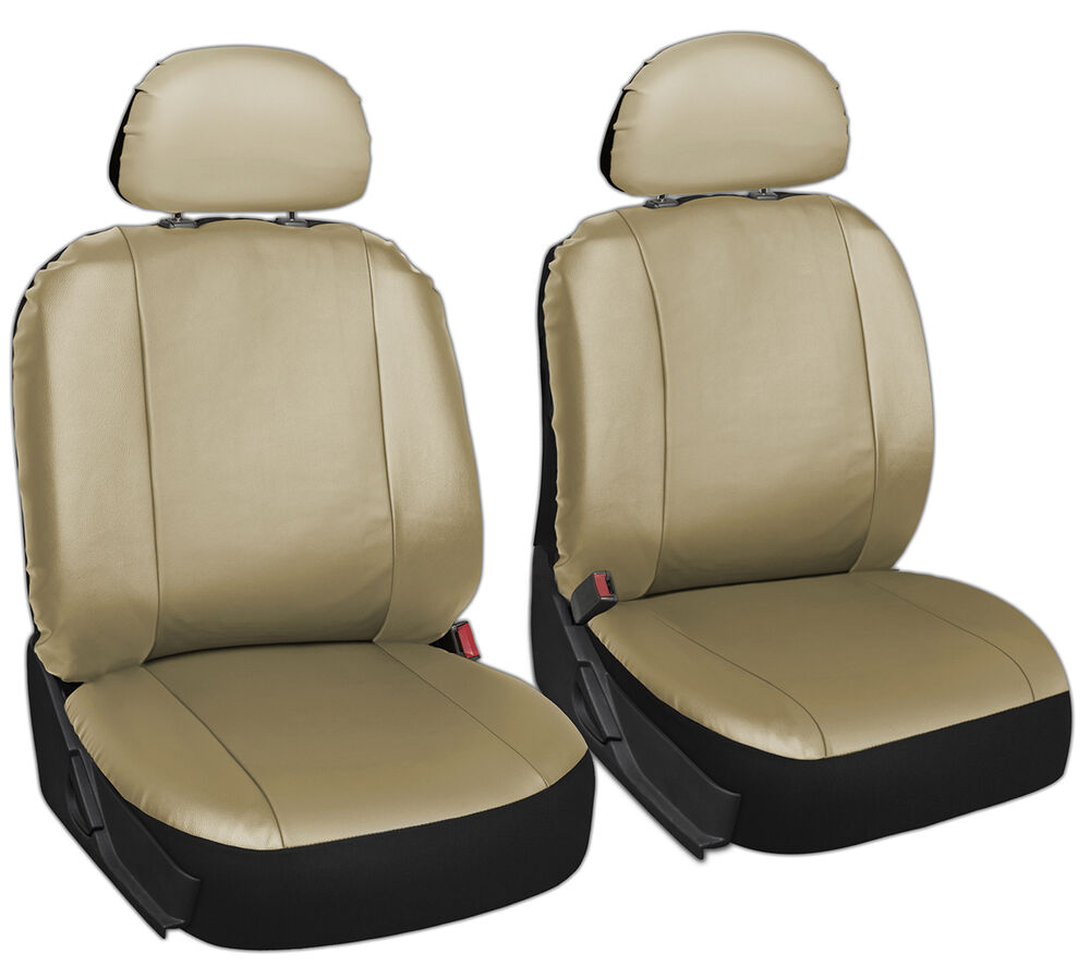 faux leather car seat covers solid tan 6pc bucket set w head rests ebay. Black Bedroom Furniture Sets. Home Design Ideas