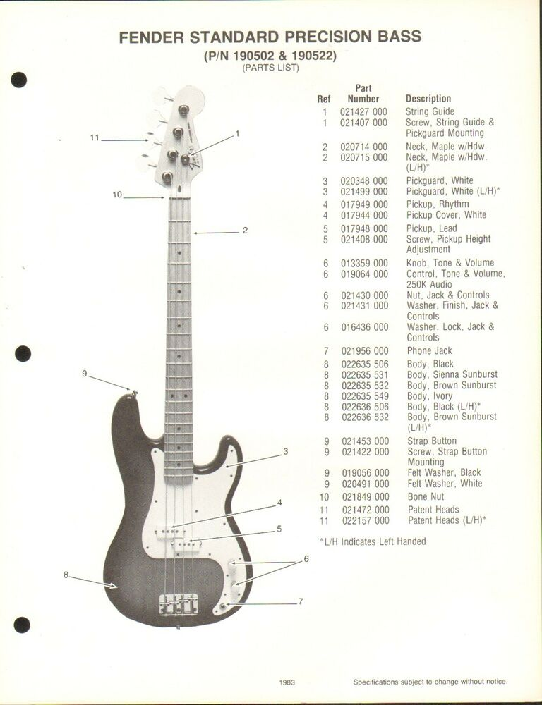 Fender Bass Guitar Accessories : vintage ad sheet 3573 fender guitar parts list standard precision bass ebay ~ Russianpoet.info Haus und Dekorationen