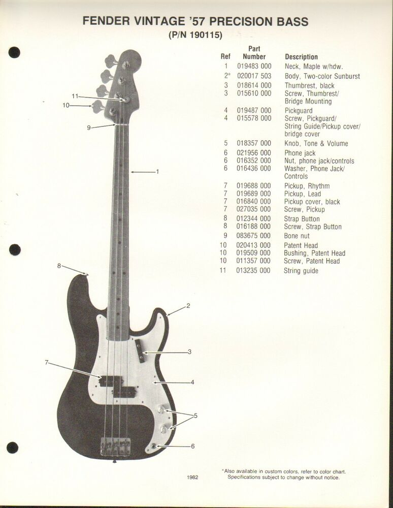 vintage ad sheet 3576 fender guitar parts list vintage 39 57 precision bass ebay. Black Bedroom Furniture Sets. Home Design Ideas