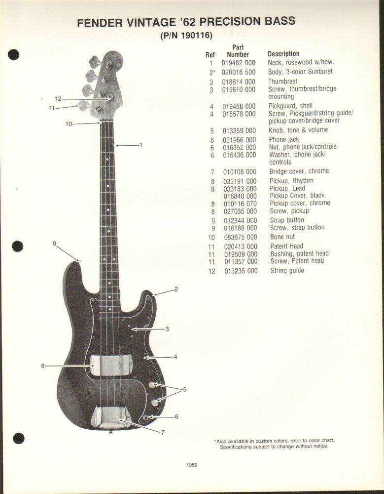 vintage ad sheet 3577 fender guitar parts list vintage 39 62 precision bass ebay. Black Bedroom Furniture Sets. Home Design Ideas