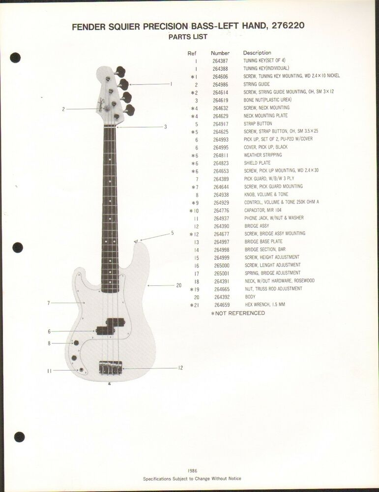 vintage ad sheet 3589 fender guitar parts list squier precision bass left ebay. Black Bedroom Furniture Sets. Home Design Ideas