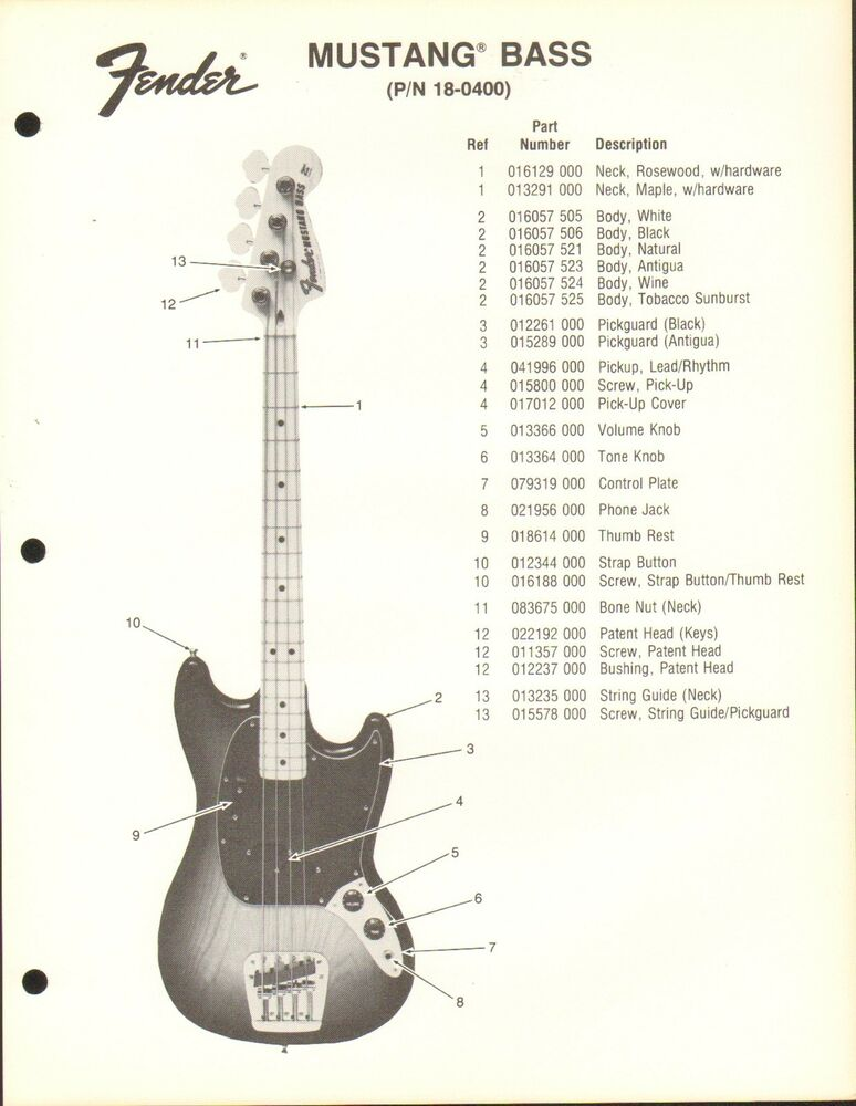 vintage ad sheet 3594 fender guitar parts list mustang bass 18 0400 ebay. Black Bedroom Furniture Sets. Home Design Ideas
