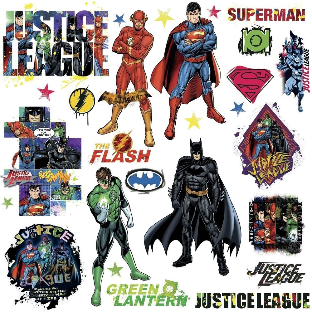 28 New JUSTICE LEAGUE WALL DECALS Superman Batman Flash
