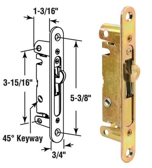 Sliding Glass Patio Door Mortise Latch With 45 Degree
